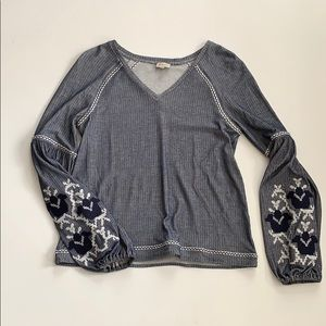 Cremieux Embroidered Peasant Top